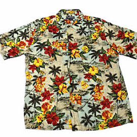 VINTAGE - Vintage Lands End Hawaiian Shirt Mens Size Large (16 - 16 1/2)