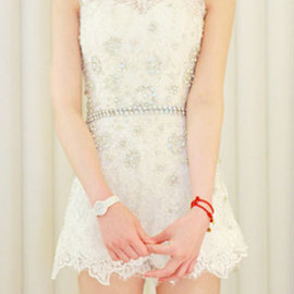 Wedding Party Floral Embroidery Rhinestones Embellished Tank Dress
