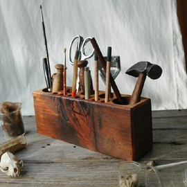 Peg and Awl - Large Bare - Reclaimed Wood Desk Caddy