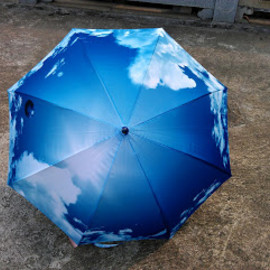 Blue Sky with White Cloud Umbrella