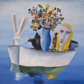 Charles Blackman - alice in the boat