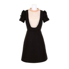 VALENTINO - Black dress in cotton and silk