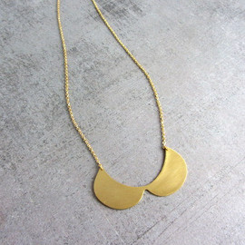 lunahoo - Gold brass fashion collar bib necklace, peter Pan necklace, Statement necklace