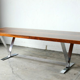 MILO BAUGHMAN - BRAIZLIAN ROSEWOOD & CHROME COFFEE TABLE