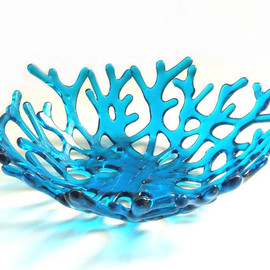 Art Glass Coral Bowl in Deep Turquoise - Ocean Beach Sea Coral Bowl