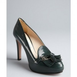 PRADA - 40%OFF SALE ■Prada■  Emerald Leather Fringe Tassel Platform Loafer Pumps 1
