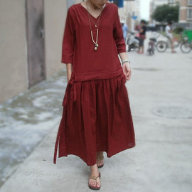 dress - linen tunic wear long mini dress