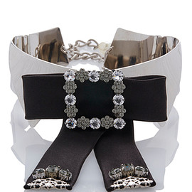 DOLCE&GABBANA - FW2016 Embellished Silver Collar With Studded Black Bow