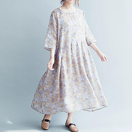 Casual dresses - Loose long large size dresses round collar Silk linen dress Casual dresses womens gift