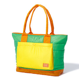 "HEAD PORTER - ""RUKA"" TOTE BAG GREEN/ORANGE"