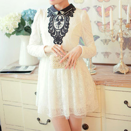 fashion - Image of  [grzxy6600985]Black Sequins Beaded Peter Pan Collar White Crochet Lace Mesh Dress
