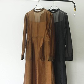 Life's - Backopen Sheer Dress Camel/Black