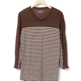 nonnative - DRIFTER TEE QS - COTTON MARBLE BORDER JERSEY