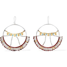 SCOSHA - Wonderland silver, gold-plated and turquoise hoop earrings