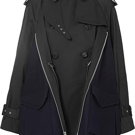 sacai - Cotton-gabardine and wool-felt trench coat