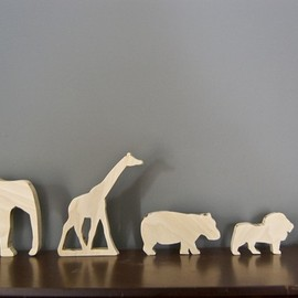 Wooden African Animal Set (Elephant, Snake, Giraffe, Lion, Hippo)