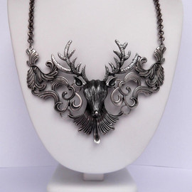 Etsy - Antiqued Silver Metal Mounted Deer Head Statement Necklace - Oxidized Silver Big Buck Bib Necklace - Deer Head Hunter Statement Necklace