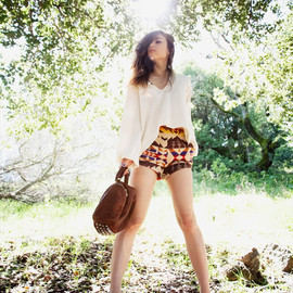 (Stone Cold Fox 'Drifter' top, Opening Ceremony x Pendleton shorts, Alexander Wang Angela bag, Jeffrey Campbell boots)