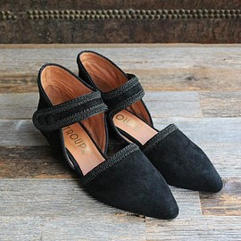 F-troupe - Suede Maryjane Shoes (Black)