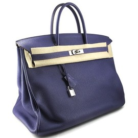 HERMES - BIRKIN 40 blue leather