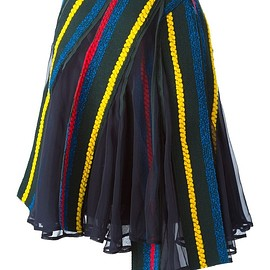 sacai - FW2015 Navy blue, red and yellow wool blend multi layer exposed seam skirt