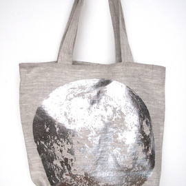 Lucky Fish - linen tote bag - silver foil moon!