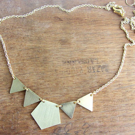 Lunahoo - Garland gold choker necklace, triangles and pentagon brass geometric necklace.