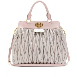 miu miu - MATELASSÉ COLOR-BLOCK LEATHER TOTE