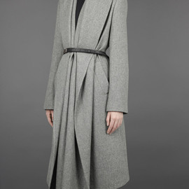 MAISON MARTIN MARGIELA - LONG COAT WITH DRAPED FRONT AND LEATHER BELT