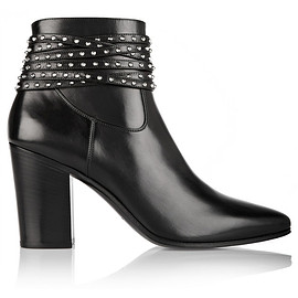 SAINT LAURENT - Studded leather ankle boots