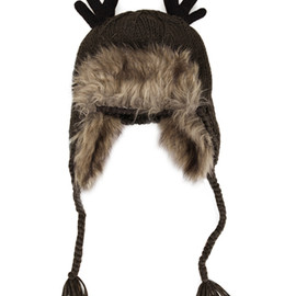 ROMWE - Faux Fur Knitted Antler Dark-grey Hat(Coming Soon)