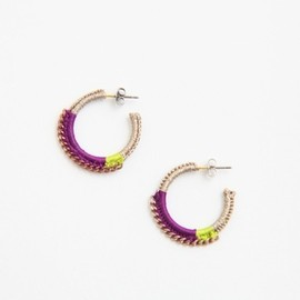 shingo matsushita - ピアス purple/light green/beige