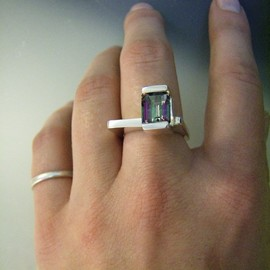 Unique Modern Channel Set Mystic Topaz Ring With Square Band by Jen Hough