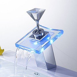 Faucetsmall - Single Handle LED Contemporary Chrome Brass Personalized Bathroom Sink Faucet -- Faucetsmall.com