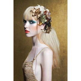 Colette Malouf - METALLIC LEATHER HIBISCUS, GILDED LILY AND BRONZED BLOSSOM BEAK CLIPS