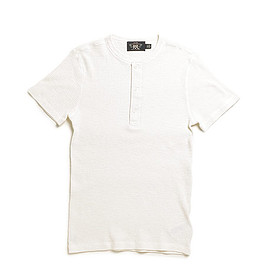 RRL - Waffle Knit Cotton Henley-Paper White