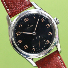 OMEGA - Round SS waterproof case w/Black dial 1940'S