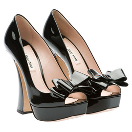miu miu - Bow-embellished suede peep-toe pumps