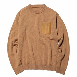 SOPHNET. - LEATHER POCKET CREW NECK KNIT