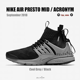 Acronym, NIKE - Air Presto Mid - Cool Grey/Black
