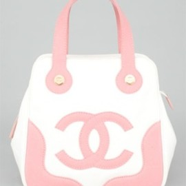 Chanel - Chanel Pink & White CC Canvas Tote