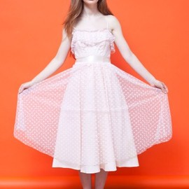 American Apparel - Vintage Polka Dot Netting Sweetheart Dress