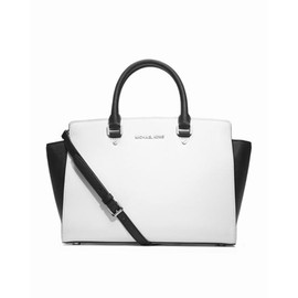 Optic white black MICHAEL Michael Kors Large Selma Saffiano Satchel