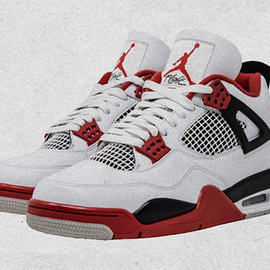 Jordan Brand, NIKE - Air Jordan 4 Retro - White/Fire Red/Black/Tech Grey