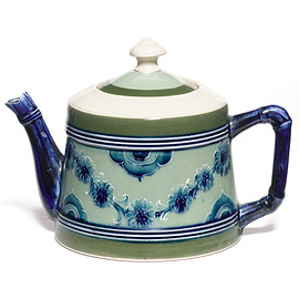 William Moorcroft Pottery - teapot with a blue floral swag design