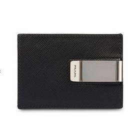 PRADA - saffiano leather money clip billfold card case
