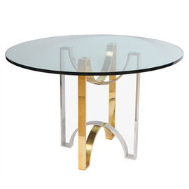 N/A - Solid Brass & Steel Ribbon Design Foyer Table