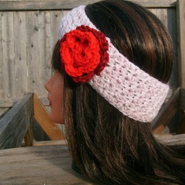Luulla - Crochet Headband, Pink, Flower, Hippie, Hair Band