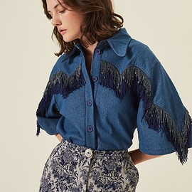 MANOUSH - Worn denim Patchwork Shirt