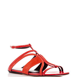 Oscar de la Renta - Red Suede And Patent Leather Lexina Sandals